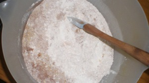 Flour, bicarbonate soda, salt, cocoa powder and some finely chopped white chocolate